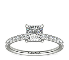 Anillo de compromiso estilo pavé francés de diamantes en oro blanco de 14 k (0,24 qt. total)