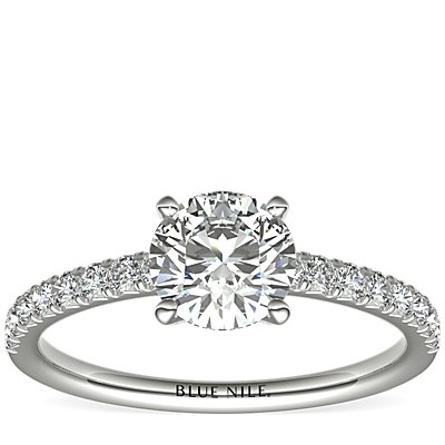 French Pavé Diamond Engagement Ring in 14k White Gold