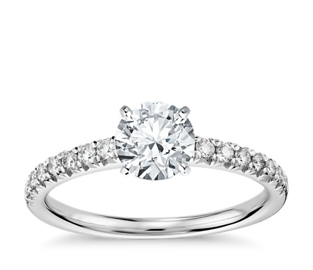 French Pavé Diamond Engagement Ring In 14k White Gold 1 4 Ct Tw