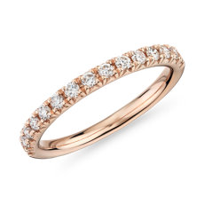 NEW French Pavé Diamond Wedding Ring in 14k Rose Gold - I/SI2 (1/3 ct. tw.)