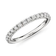 新款 14k 白金法式密釘鑽石結婚戒指 - I/SI2 (1/3 克拉總重量)