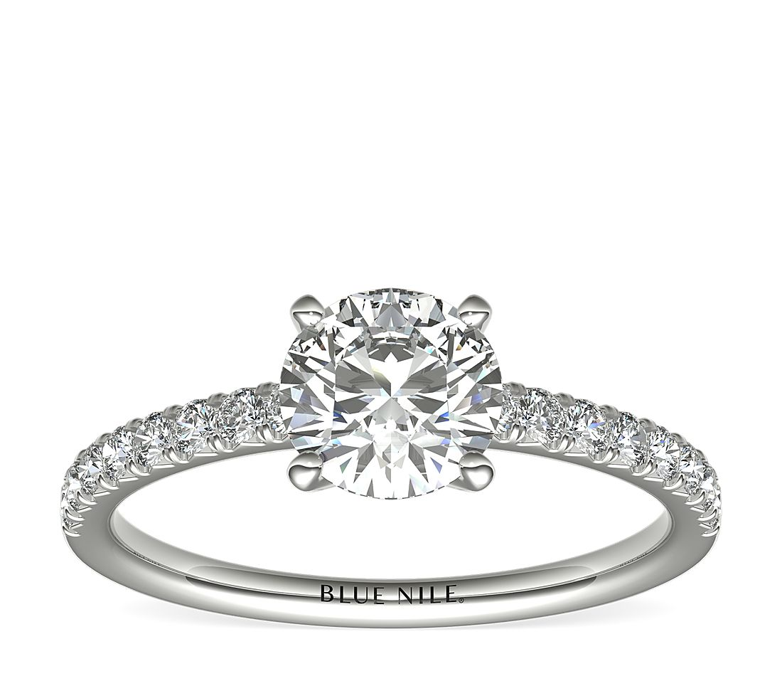 1 Carat Ready-to-Ship French Pavé Diamond Engagement Ring in Platinum