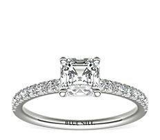 Bague de fiançailles en diamants sertis pavé français en platine (0,24carat, poids total)