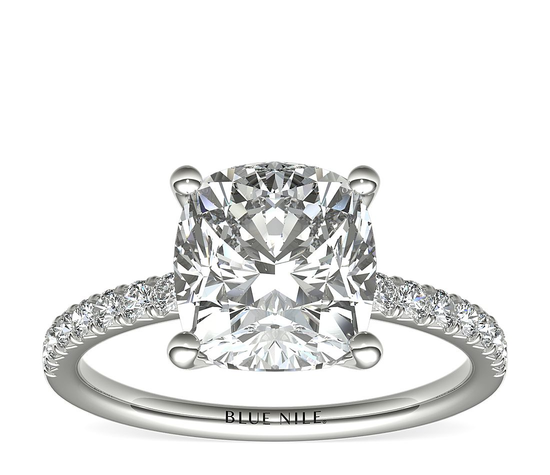 3.5ct.CU in *Delicate* French Pave Engagement in Platinum