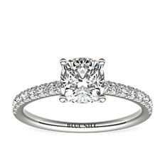 French Pavé Diamond Engagement Ring in Platinum (0.24 ct. tw.)