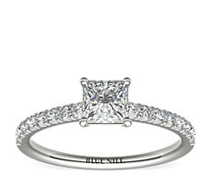 French Pavé Diamond Engagement Ring in Platinum (1/4 ct. tw.)