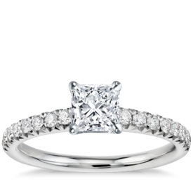 has matching band french pav diamond engagement ring - Square Cut Wedding Rings