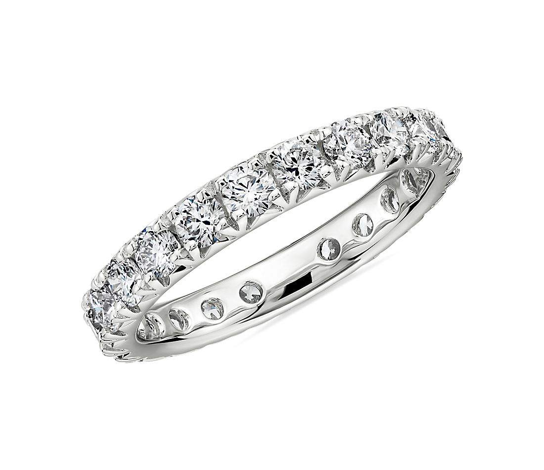 French Pavé Diamond Eternity Band in Platinum (1.36 ct. tw.)