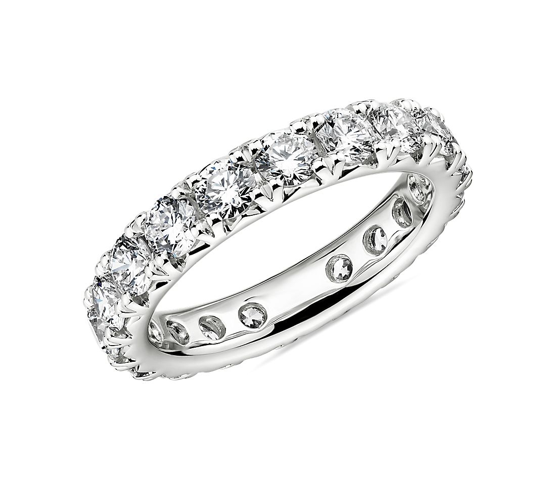 French Pavé Diamond Eternity Band in Platinum (2.22 ct. tw.)