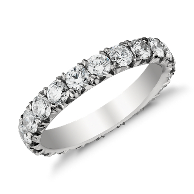 French Pav Diamond Eternity Ring in Platinum 2 ct tw Blue Nile