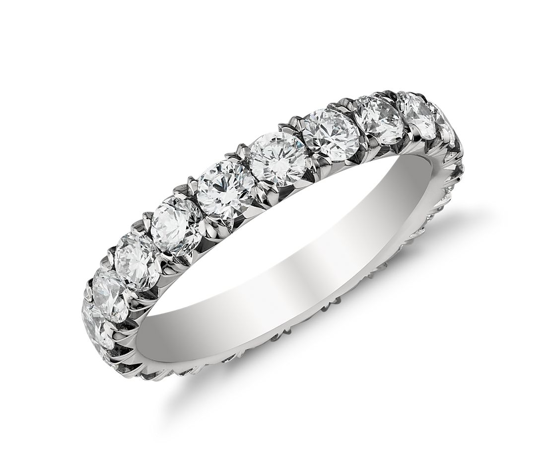 French Pav 233 Diamond Eternity Ring In Platinum 2 Ct Tw