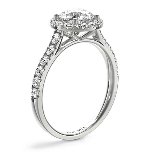 French Pavé Diamond Halo Engagement Ring