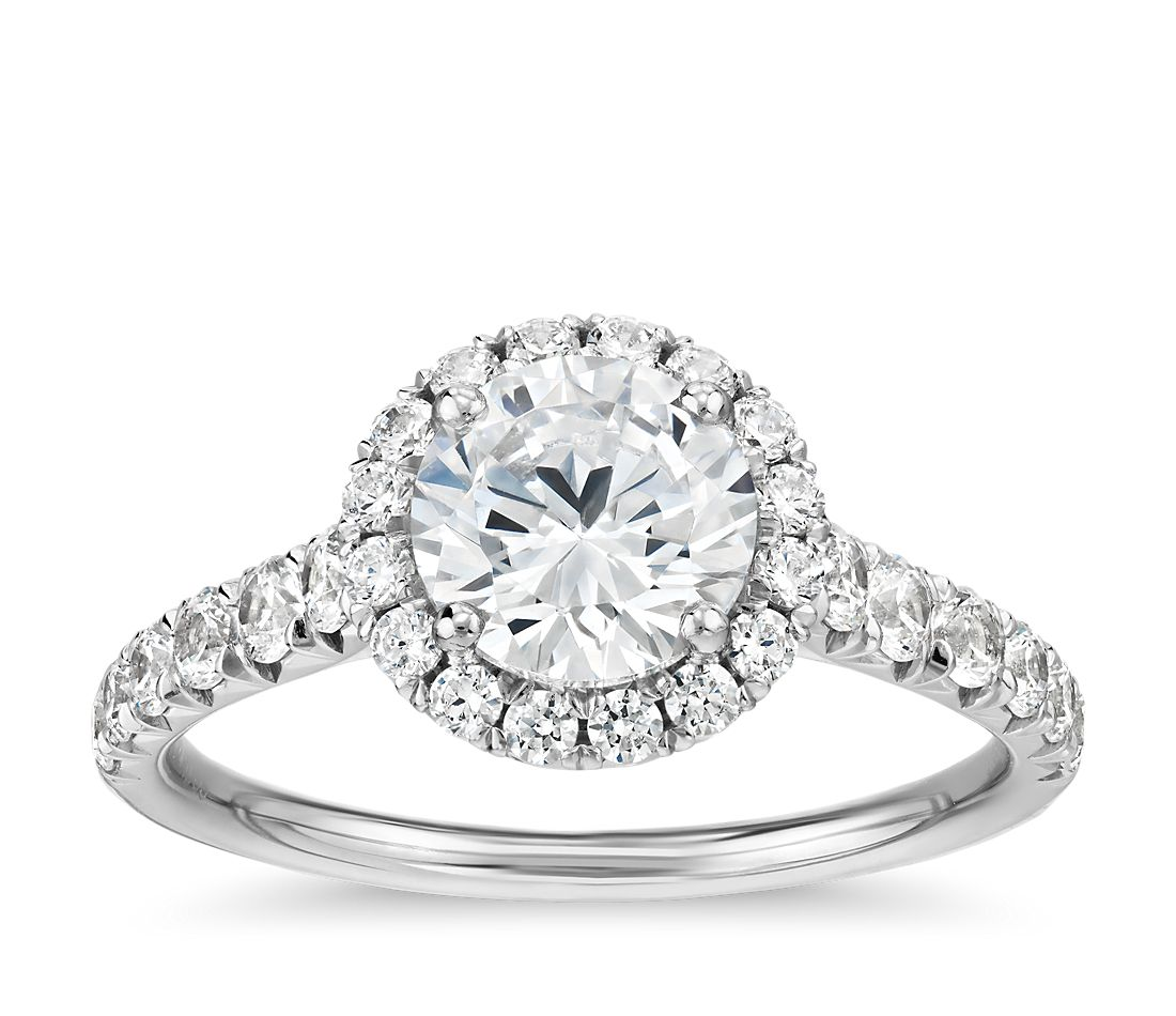 French Pavé Diamond Halo Engagement Ring In Platinum (1/2