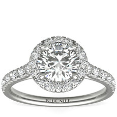 French Pavé Diamond Halo Engagement Ring in Platinum (1/2 ct. tw.)