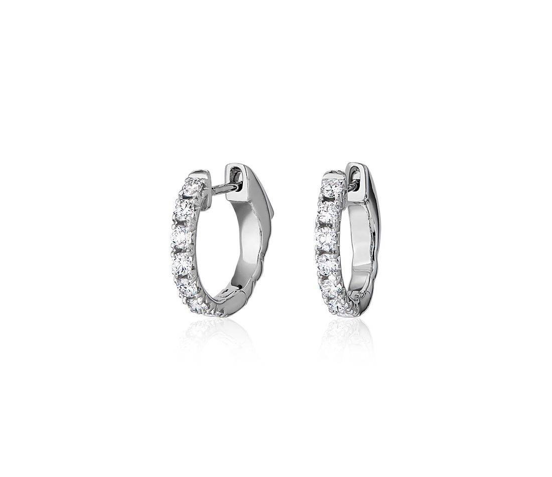 French Pave Round Hoop Earrings in 14k White Gold (1/2 ct. tw.)
