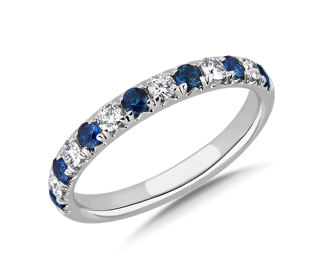 French Pavé Sapphire and Diamond Wedding Ring in 14k White Gold - I/SI2 (2.1mm)