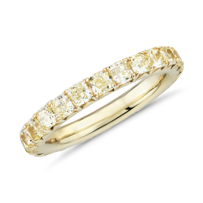 French Pave Yellow Diamond Eternity Ring in 18k Yellow Gold 2 ct