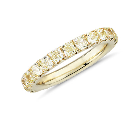 French Pave Yellow Diamond Eternity Ring in 18k Yellow Gold (2 ct. tw.)