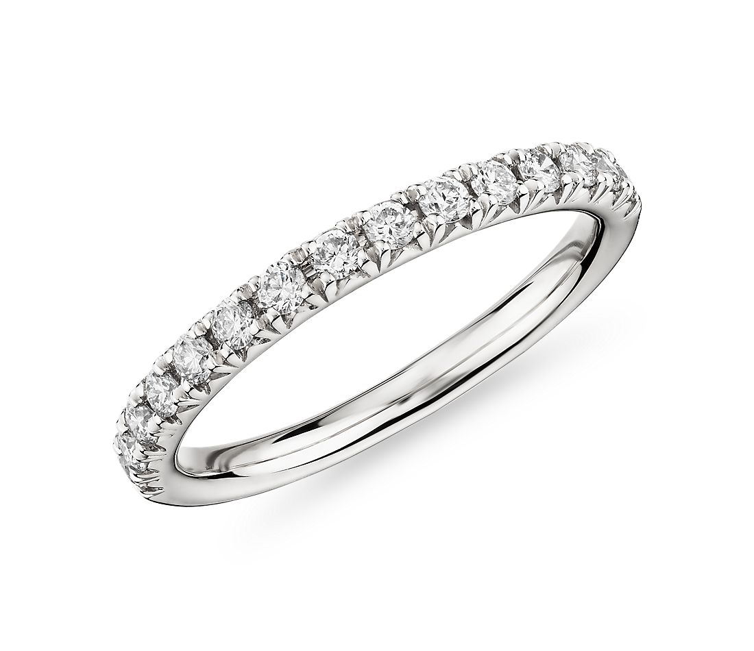 French Petite Pavé Diamond Ring in 18k White Gold (1/3 ct. tw.)