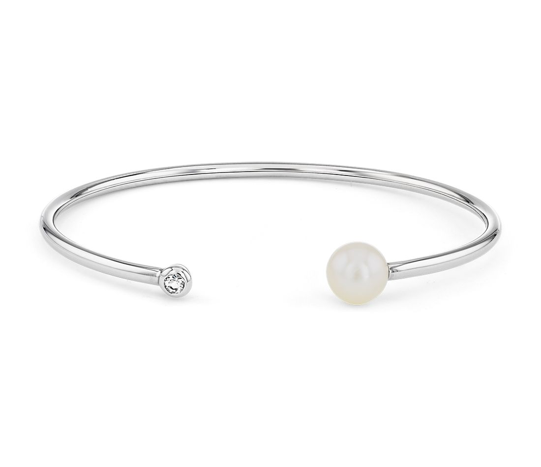 Freshwater Bangle Bracelet White Topaz End in Sterling Silver