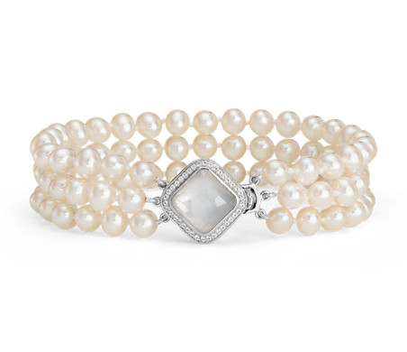Triple-Strand Baroque Freshwater Cultured Pearl and Mother of Pearl Bracelet in Sterling Silver (2mm)