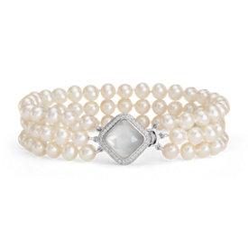 Bracelet de perles nacre et perles de culture d'eau douce baroques triple rang en argent sterling (2mm)