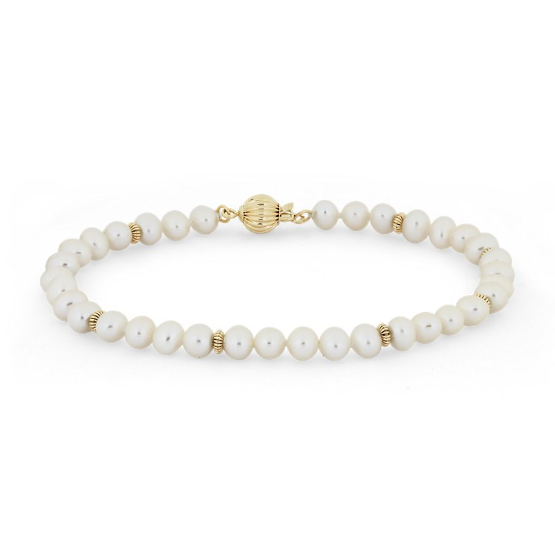 Freshwater Cultured Pearl Bracelet with Separators in 14k Yellow