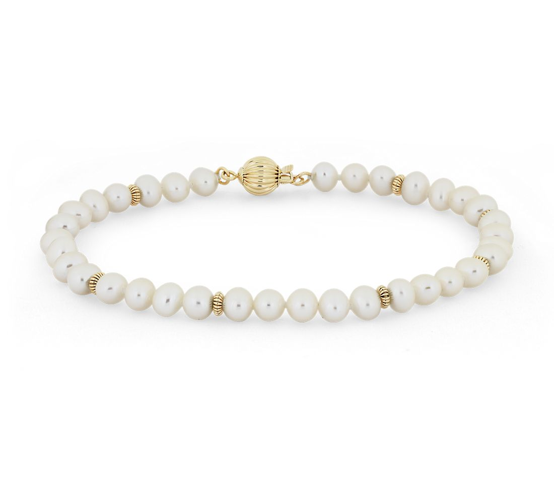 Freshwater Cultured Pearl Bracelet with Separators in 14k Yellow Gold (4-4.5mm)