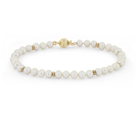 Blue Nile Freshwater Pearl Bracelet in 14k White Gold (3.5-4mm)