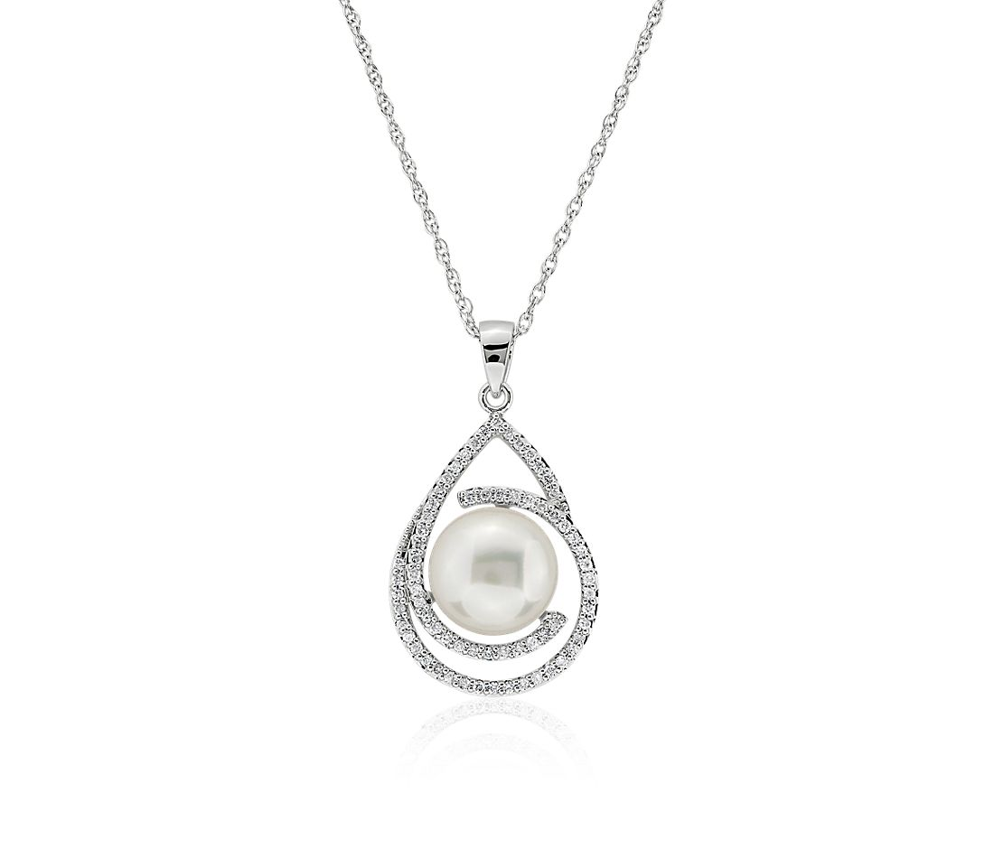 Freshwater Button Pearl Pendant with Swirl Diamond Halo in 14k White Gold