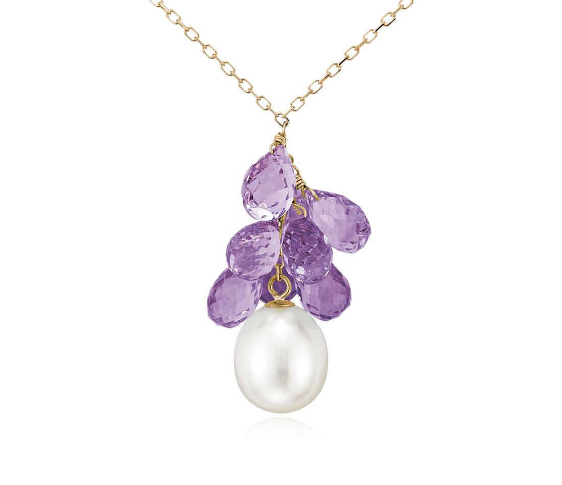 Freshwater Cultured Pearl and Amethyst Briolette Necklace in 14k Yellow Gold