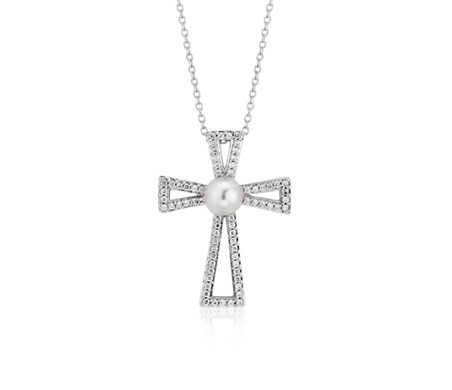 Freshwater Cultured Pearl and Diamond Cross Pendant in 14k White Gold (5mm)