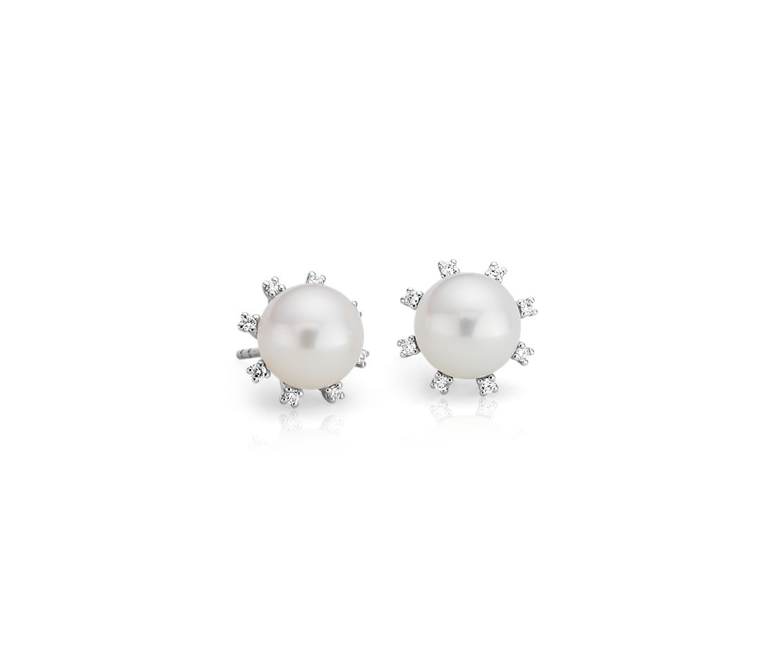 Freshwater Cultured Pearl and Diamond Halo Earrings in 14k White Gold (9-9.5mm)