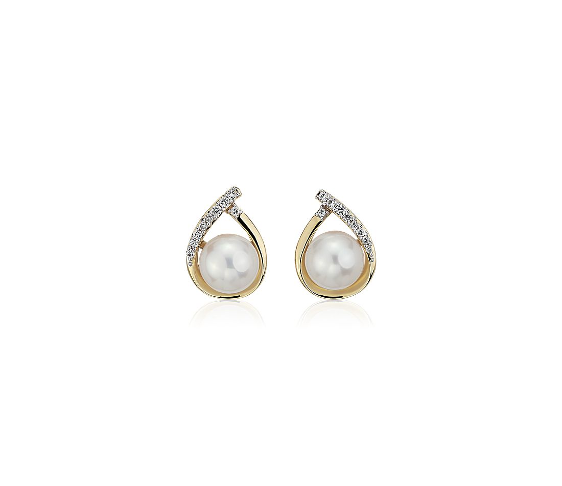 Vintage-Inspired Freshwater Cultured Pearl and Diamond Teardrop Earrings in 14k Yellow Gold