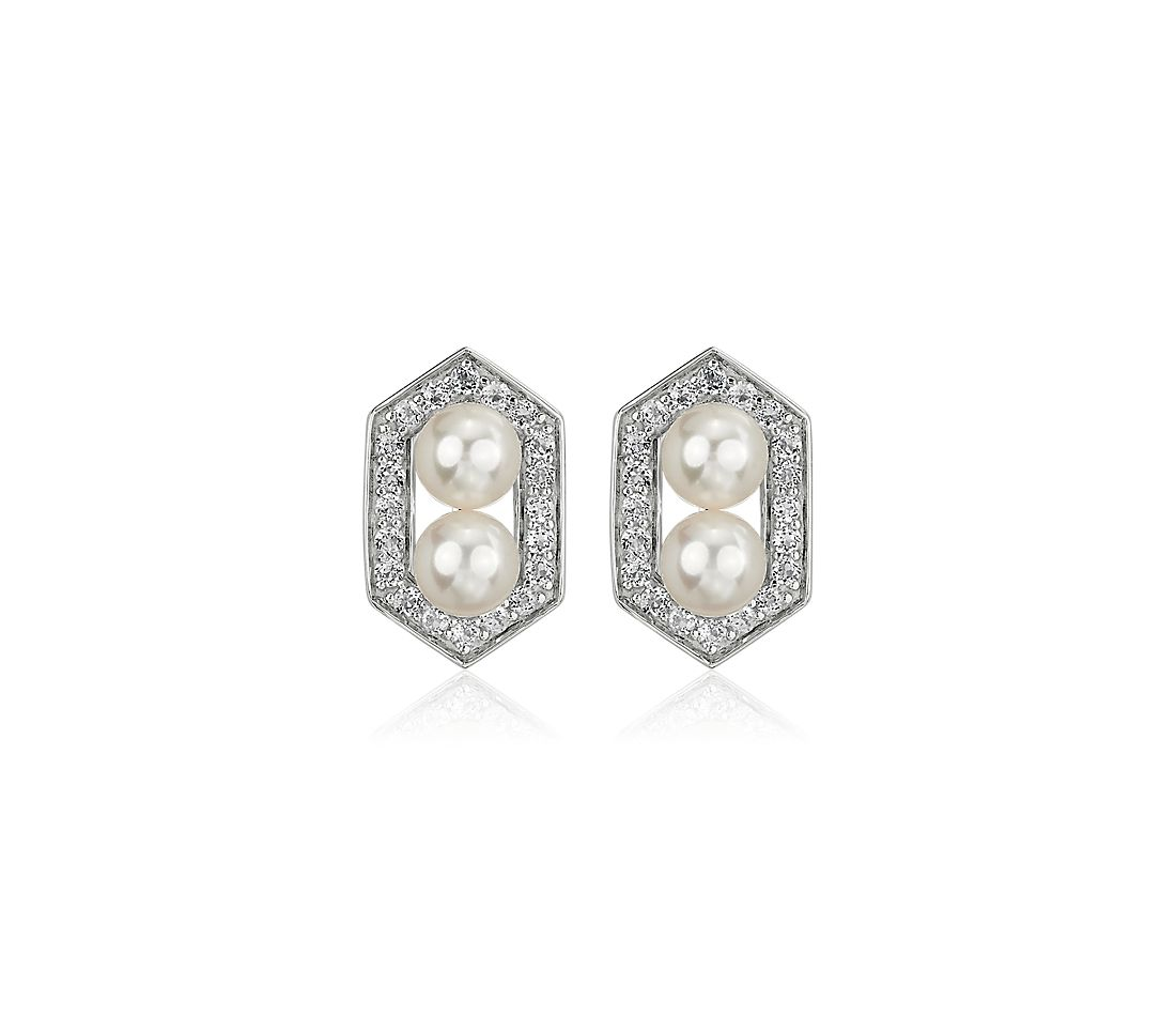 Freshwater Cultured Pearl and White Topaz Hexagon Halo Earrings in Sterling Silver (5-6mm)