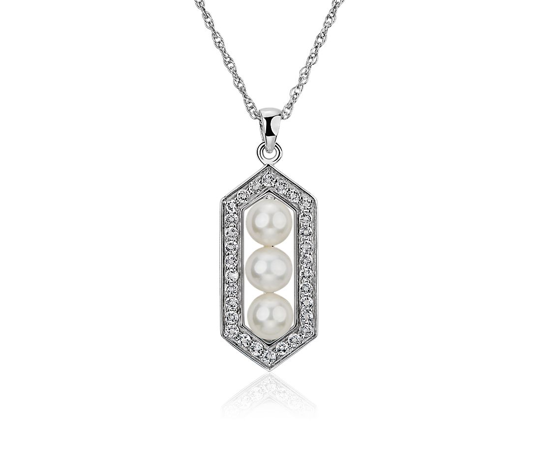 Freshwater Cultured Pearl and White Topaz Hexagon Halo Pendant in Sterling Silver (5-6mm)