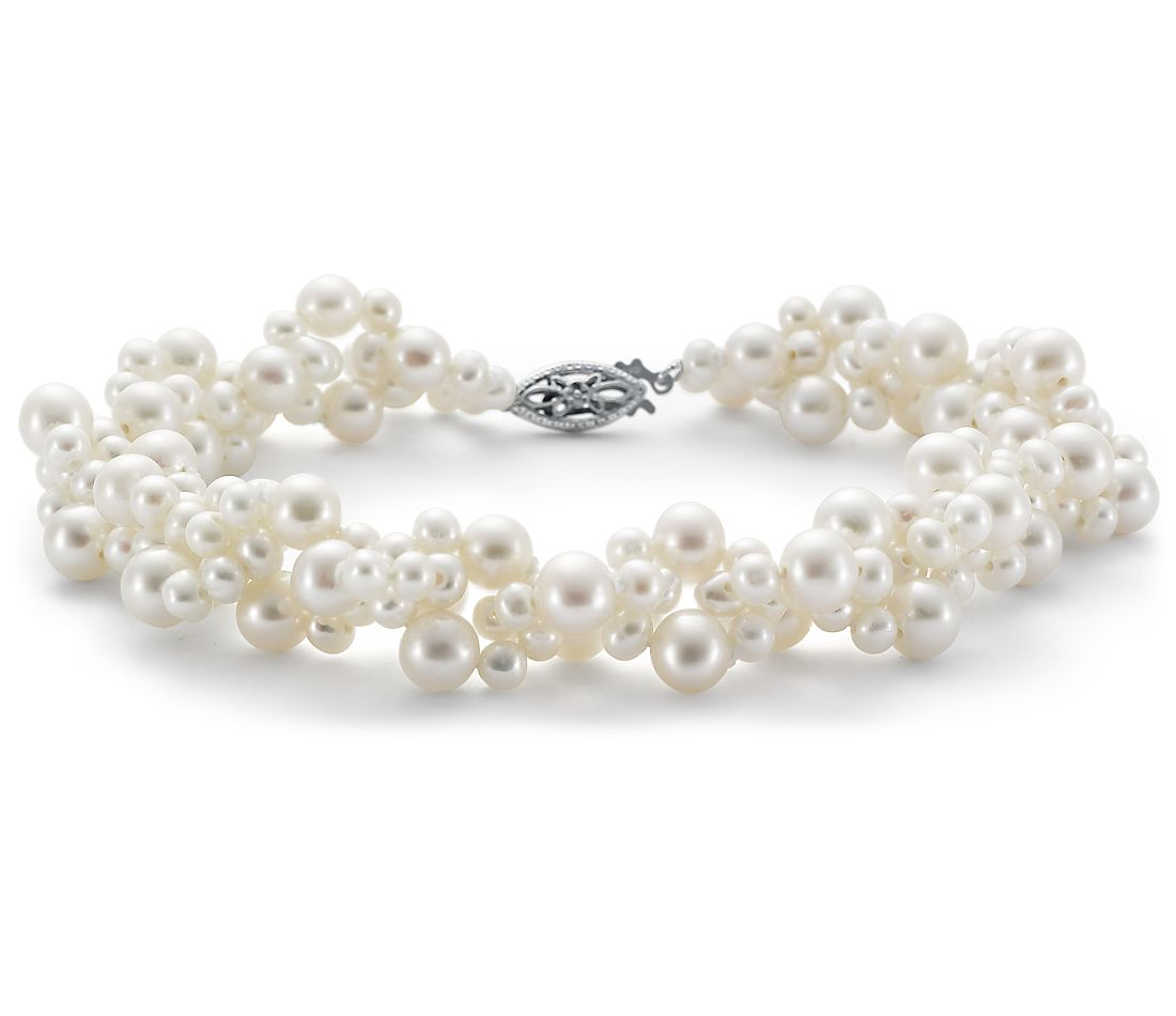 Freshwater Cultured Pearl Woven Bracelet In 14k White Gold 3 5mm