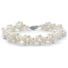 Freshwater Cultured Pearl Woven Bracelet in 14k White Gold (3-5mm)