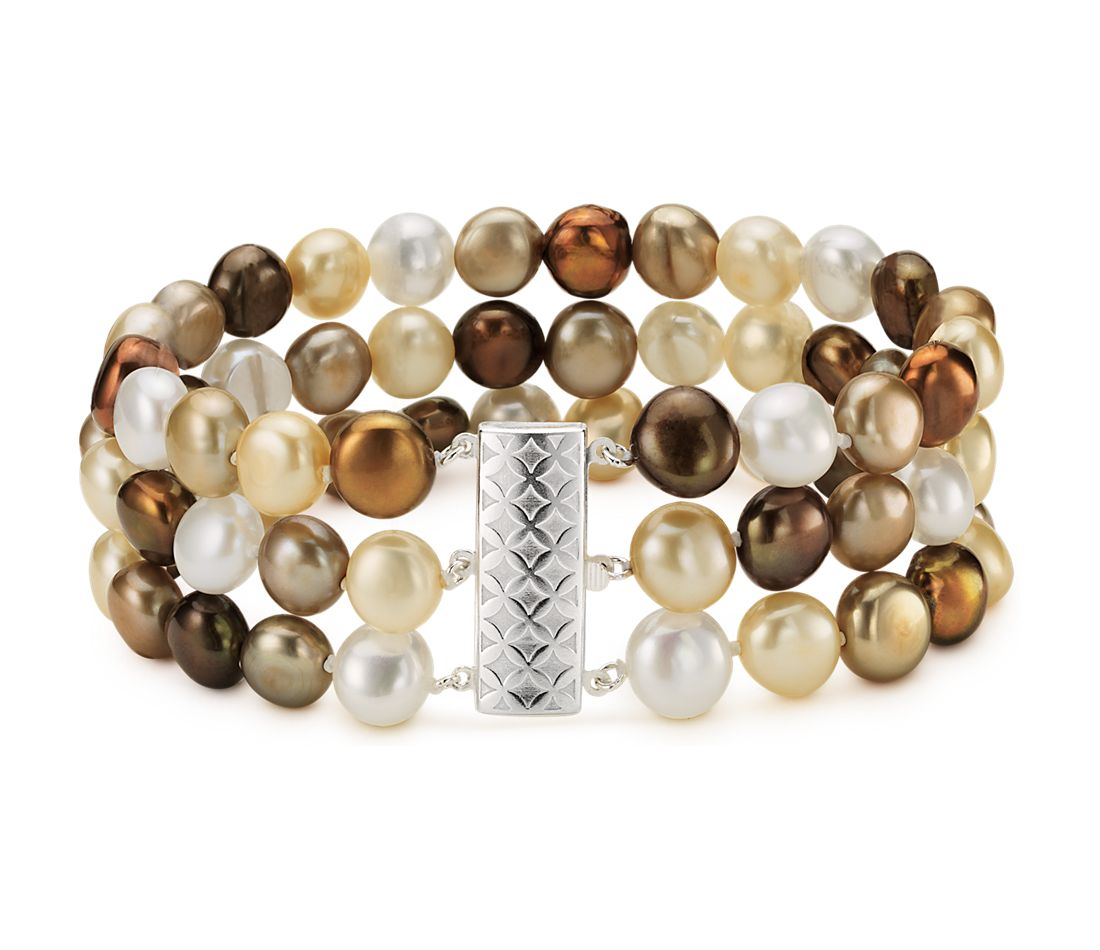 Chocolate Freshwater Cultured Pearl Bracelet with Sterling Silver