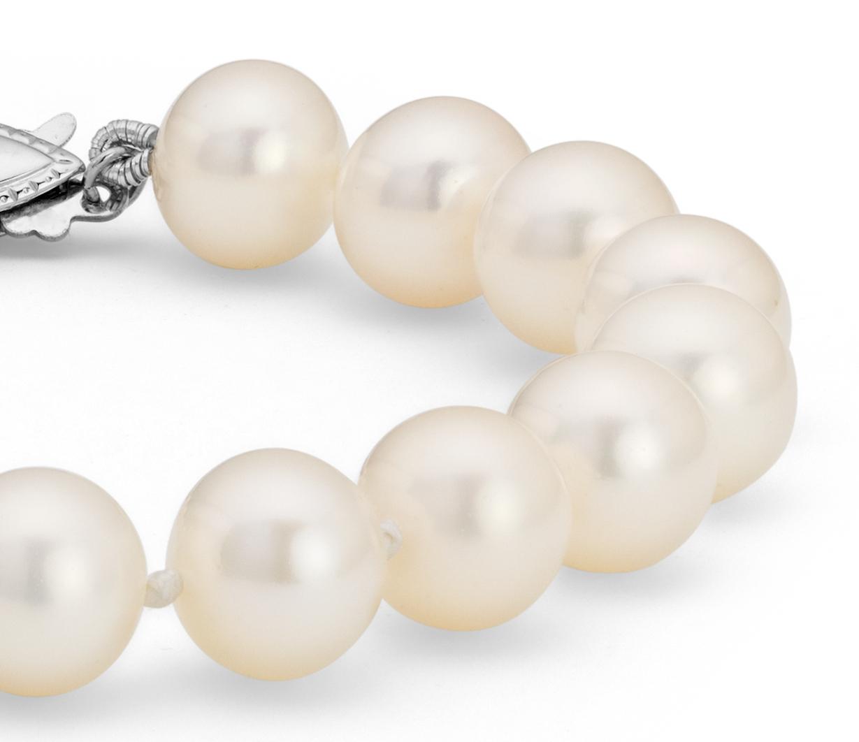 Bracelet de perles de culture d'eau douce en or blanc 14carats (8,0-8,5mm)
