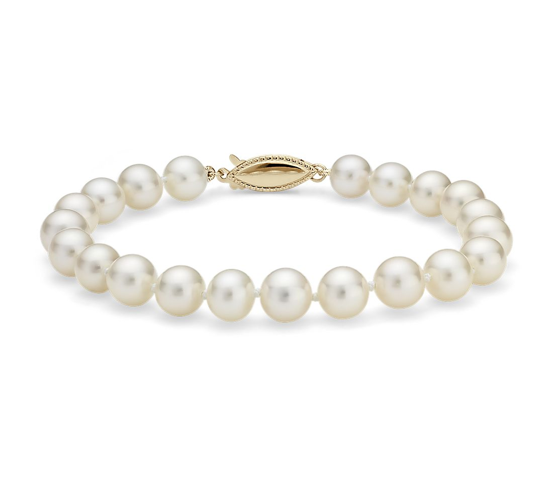 Freshwater Cultured Pearl Bracelet in 14k Yellow Gold (7.0-7.5mm)