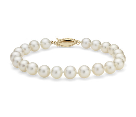 Blue Nile Classic Akoya Cultured Pearl Bracelet in 18k White Gold (7.0-7.5mm) AJonEE5ZPW