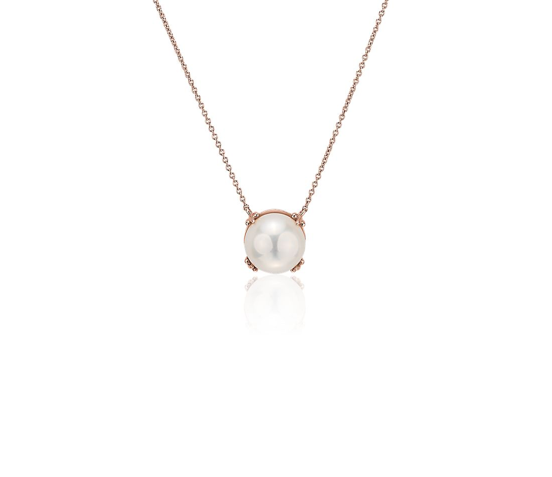 Freshwater Cultured Pearl Button Pendant in 14k Rose Gold (9.5-10mm)