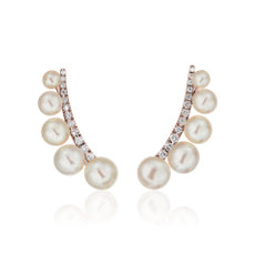 Freshwater Cultured Pearl Climber Earrings in 14k Rose Gold (3-6mm)