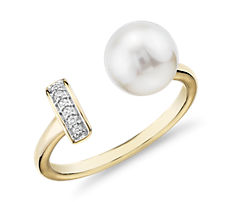 Freshwater Cultured Pearl and Diamond Bar Fashion Ring in 14k Yellow Gold (7.5-8mm)
