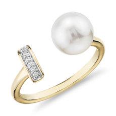 14k 金淡水养殖珍珠和钻石条形时尚戒指<br>(7.5-8毫米)