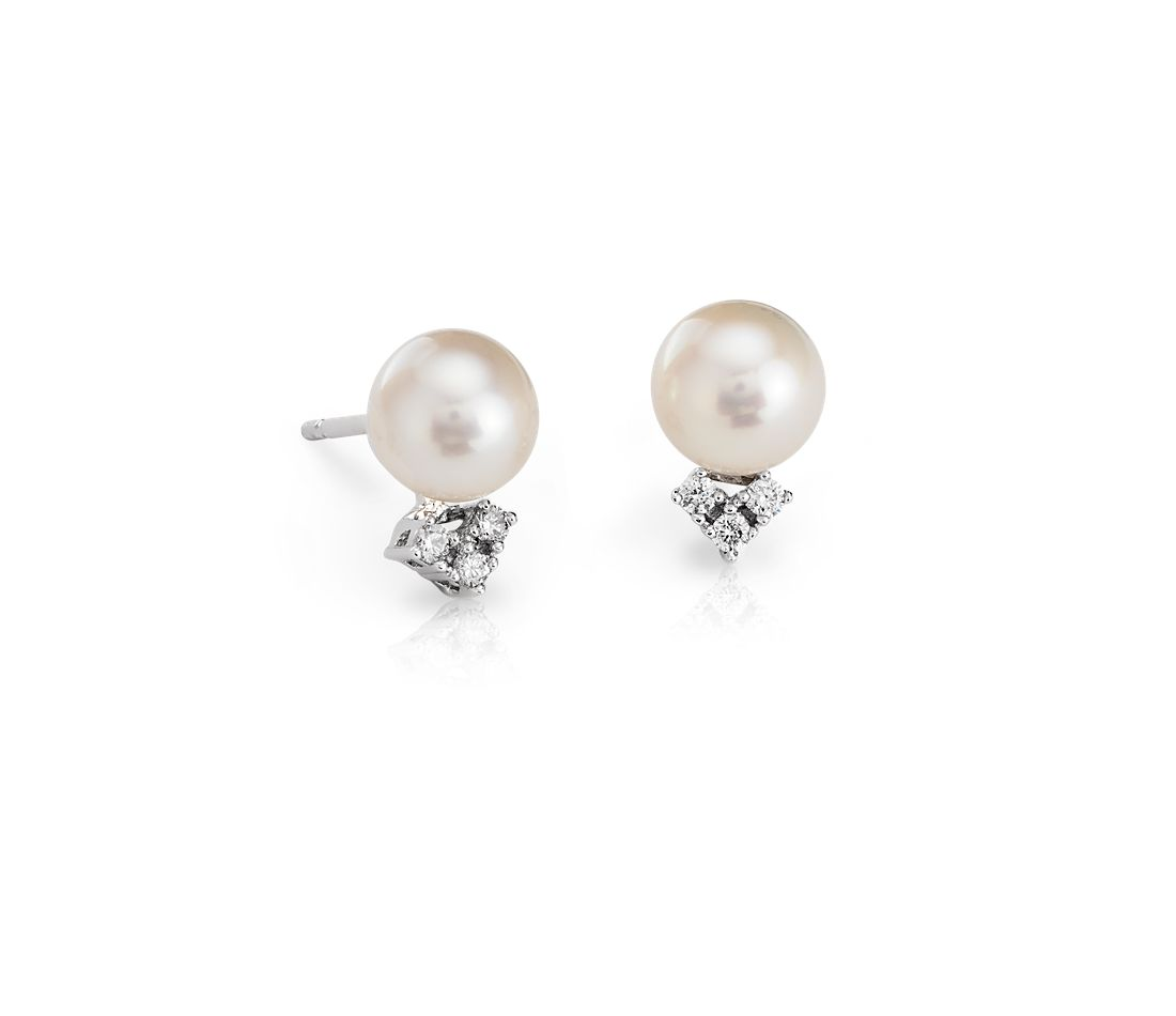Freshwater Cultured Pearl And Diamond Stud Earrings In 14k White Gold (7mm)