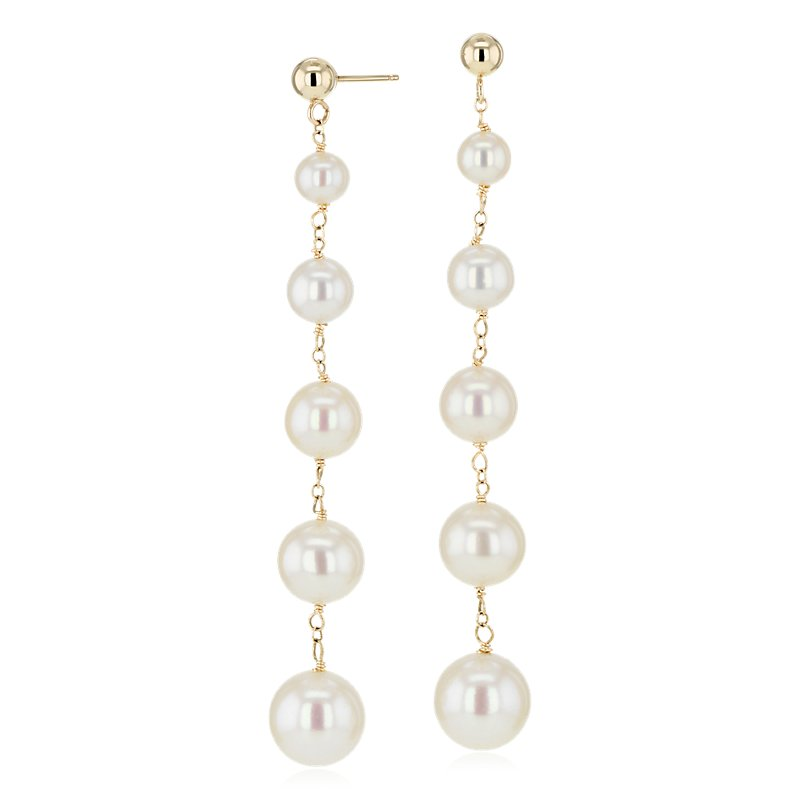 Freshwater Cultured Pearl Drop Earrings in 14k Yellow Gold (4-9mm