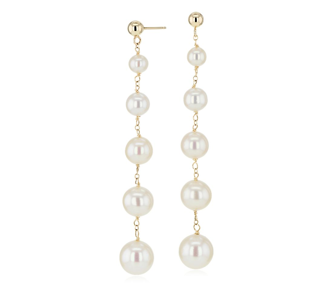 Freshwater Cultured Pearl Drop Earrings In 14k Yellow Gold 4 9mm