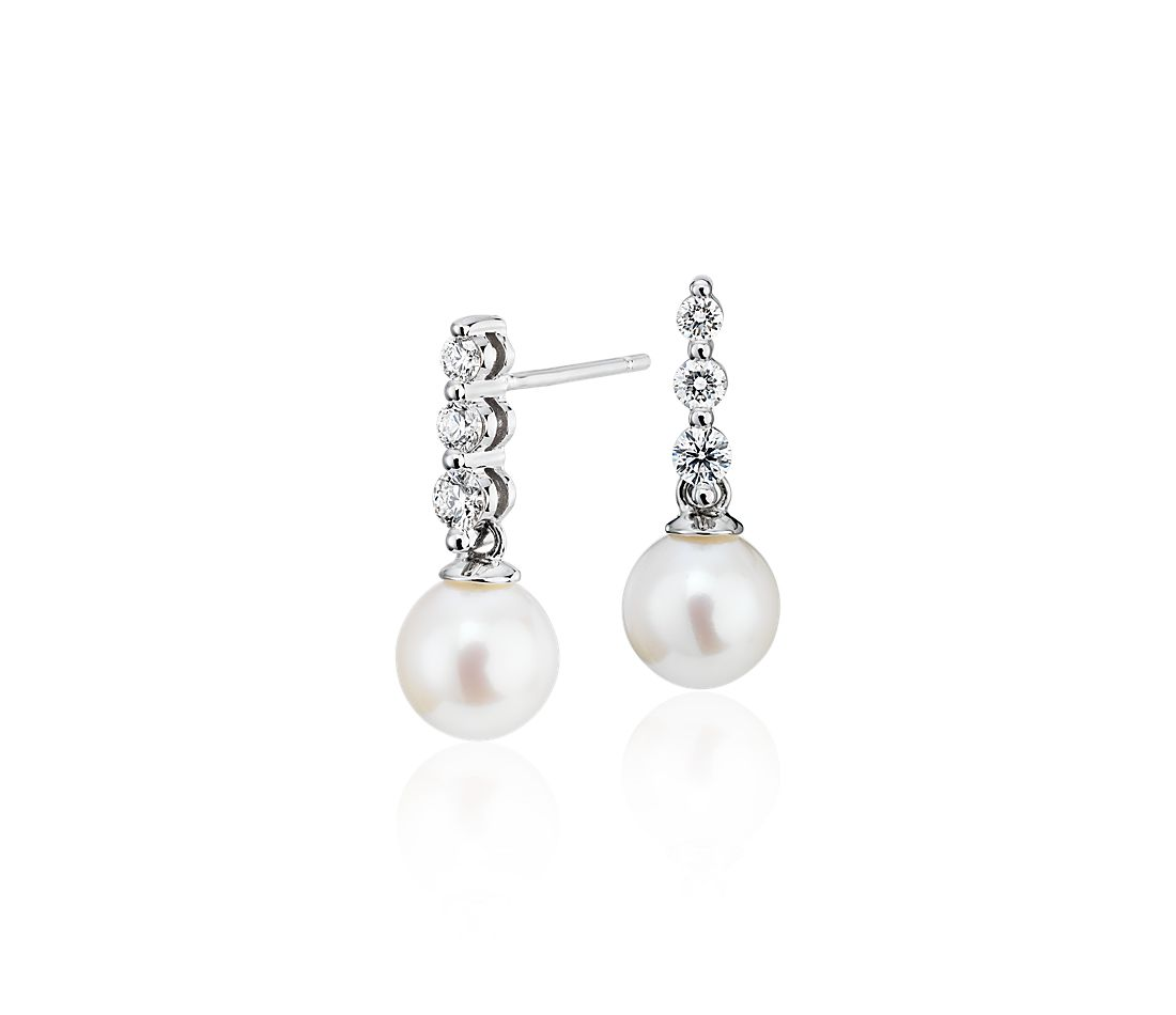 Freshwater Cultured Pearl Trio Diamond Drop Earrings in 14k White Gold